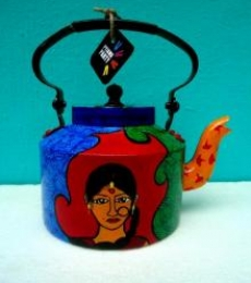 Indie Roots Tea Kettle | Craft by artist Rithika Kumar | Aluminium