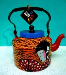 Japanese Fan Tea Kettle | Craft by artist Rithika Kumar | Aluminium