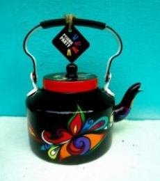 Swirl Tea Kettle | Craft by artist Rithika Kumar | Aluminium