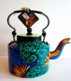Indigo Hues Tea Kettle | Craft by artist Rithika Kumar | Aluminium