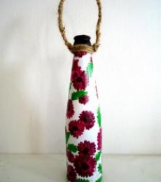 Bottle Planter - Magenta | Craft by artist Rithika Kumar | Recycled Glass
