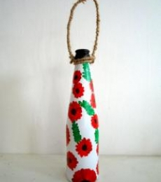 Bottle Planter - Red | Craft by artist Rithika Kumar | Recycled Glass