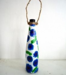 Bottle Planter - Lavender | Craft by artist Rithika Kumar | Recycled Glass