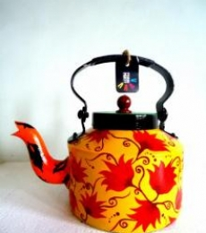 Floaty Flowers Tea Kettle | Craft by artist Rithika Kumar | Aluminium