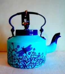 Indigo Tea Kettle | Craft by artist Rithika Kumar | Aluminium