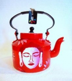 Buddha Red Tea Kettle | Craft by artist Rithika Kumar | Aluminium