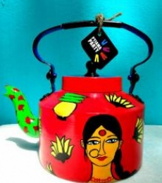Ethinicity Tea Kettle | Craft by artist Rithika Kumar | Aluminium