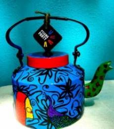 Ethinic India Tea Kettle | Craft by artist Rithika Kumar | Aluminium