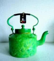 Foliage Textured Tea Kettle | Craft by artist Rithika Kumar | Aluminium