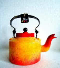 Forest Fire Textured Tea Kettle | Craft by artist Rithika Kumar | Aluminium