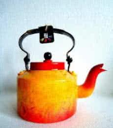 Forest Fire Textured Tea Kettle | Craft by artist Rithika Kumar | Aluminium
