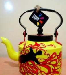 Free Fall Tea kettle | Craft by artist Rithika Kumar | Aluminium