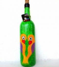 Love Birds Hand Painted Glass Bottles | Craft by artist Rithika Kumar | Recycled Glass