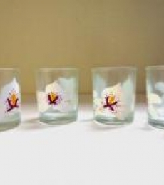 White Orchid Glasses | Craft by artist Rithika Kumar | Glass