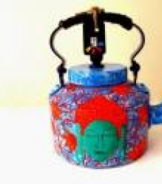 Shades Of Buddha Blue Tea Kettle | Craft by artist Rithika Kumar | Aluminium