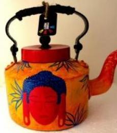 Shades Of Buddha Yellow Tea Kettle | Craft by artist Rithika Kumar | Aluminium