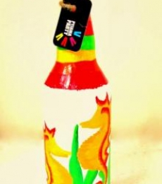 Rithika Kumar | Yellow Moon Cats Hand Painted Glass Bottles Craft Craft by artist Rithika Kumar | Indian Handicraft | ArtZolo.com