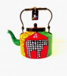 Holy Cow Tea Kettle | Craft by artist Rithika Kumar | Aluminium
