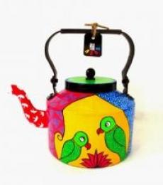 Parrot Pair Tea Kettle | Craft by artist Rithika Kumar | Aluminium