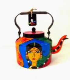 Traditional Lady Tea Kettle | Craft by artist Rithika Kumar | Aluminium