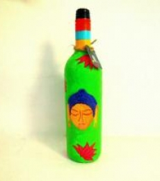 Shades Of Buddha Leaf Green Hand Painted Glass Bottles | Craft by artist Rithika Kumar | Recycled Glass