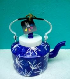 Rithika Kumar | Indigo hues Tea Kettle Craft Craft by artist Rithika Kumar | Indian Handicraft | ArtZolo.com