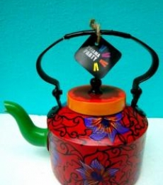 Orchids Tea Kettle | Craft by artist Rithika Kumar | Aluminium