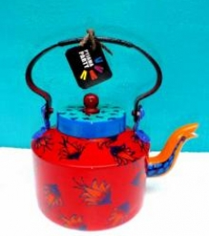 Floating Flowers Tea Kettle | Craft by artist Rithika Kumar | Aluminium