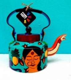 Back to the Basics- Limited Edition hand-painted kettle | Craft by artist Rithika Kumar | Aluminium