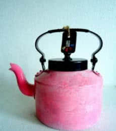 Pink Waterfall Textured Tea Kettle | Craft by artist Rithika Kumar | Aluminium