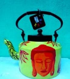 Shades of Buddha Green Tea Kettle | Craft by artist Rithika Kumar | Aluminium