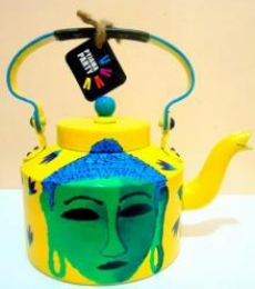 Shades Of Buddha Yellow Tea Kettle | Craft by artist Rithika Kumar | Aluminium