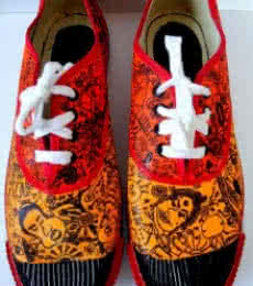 Squiggles Hand Painted Shoe | Craft by artist Rithika Kumar | Canvas