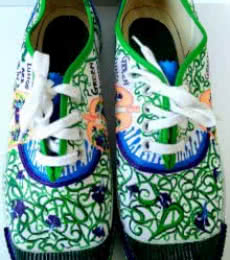 Rithika Kumar | Go Green Hand Painted Shoe Craft Craft by artist Rithika Kumar | Indian Handicraft | ArtZolo.com
