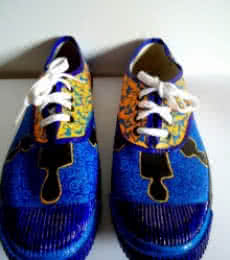 Shady men Blue Hand Painted Shoe | Craft by artist Rithika Kumar | Canvas