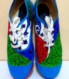 Rithika Kumar | Peek a Boo Hand Painted Shoe Craft Craft by artist Rithika Kumar | Indian Handicraft | ArtZolo.com