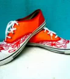 Rithika Kumar | Orange Flower Hand Painted Shoe Craft Craft by artist Rithika Kumar | Indian Handicraft | ArtZolo.com