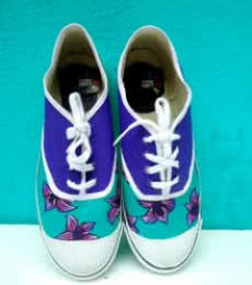 Purple Flower Hand Painted Shoe | Craft by artist Rithika Kumar | Canvas