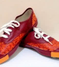 Earthy Endeavour Hand Painted Shoe | Craft by artist Rithika Kumar | Canvas