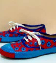 Rithika Kumar | Floaty Flower Hand Painted Shoe Craft Craft by artist Rithika Kumar | Indian Handicraft | ArtZolo.com