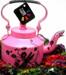 Hand Pink Tea Kettle | Craft by artist Rithika Kumar | Aluminium
