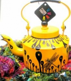 Hand Yellow Tea Kettle | Craft by artist Rithika Kumar | Aluminium