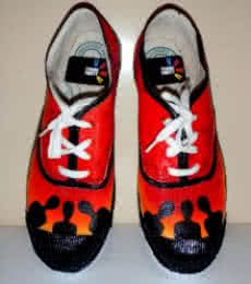 Rithika Kumar | Shady men Orange Hand Painted Shoe Craft Craft by artist Rithika Kumar | Indian Handicraft | ArtZolo.com