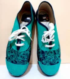 Rithika Kumar | Sea Green Hand Painted Shoe Craft Craft by artist Rithika Kumar | Indian Handicraft | ArtZolo.com