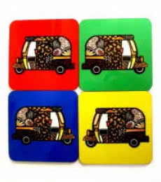 Rickshaw Coasters | Craft by artist Rithika Kumar | MDF Wood
