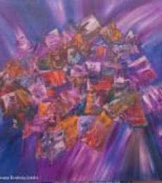 Impressionist Oil Art Painting title 'Cluttered Life As We Live Today' by artist Bhawna Jotshi