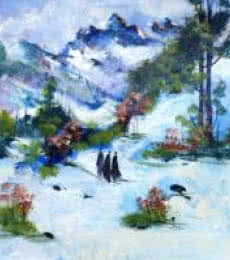 Landscape Acrylic Art Painting title 'Snowy Affair' by artist AYAAN GROUP