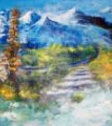Landscape Acrylic Art Painting title 'Valley Trail' by artist AYAAN GROUP