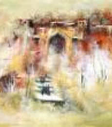 AYAAN GROUP | Acrylic Painting title Ancient Building on Canvas | Artist AYAAN GROUP Gallery | ArtZolo.com