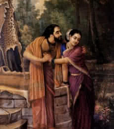 Figurative Oil Art Painting title 'Arjuna And Subhadra' by artist Raja Ravi Varma Reproduction